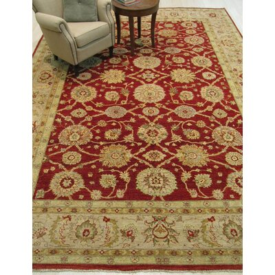 Peshawar Hand-Knotted Red Area Rug