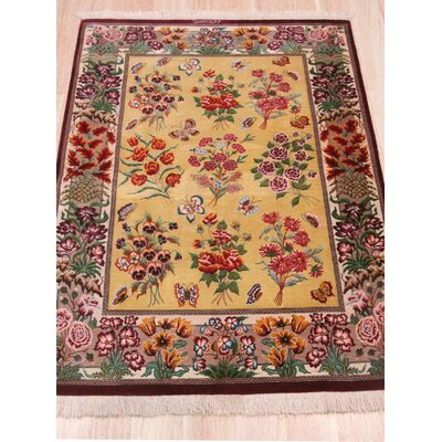 Qum Hand-Knotted Gold Area Rug