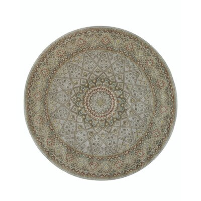 Gonbad Hand-Tufted Wool Gray Area Rug Rug Size: Round 6