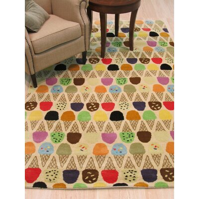 Kids Ice Cream Cone Hand Tufted Ivory Area Rug Rug Size: 79 x 99