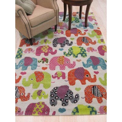 Kids Elephant Hand-Tufted Orange/Green Area Rug Rug Size: 5 x 8