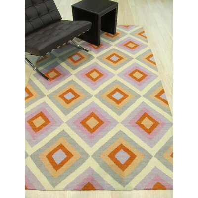 Hollie Handmade Orange/Gray Area Rug Rug Size: 9 x 12