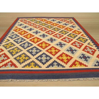 Keysari Kilim Handmade Blue Area Rug Rug Size: 56 x 76