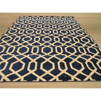 Trellis Blue Area Rug Rug Size: 53 x 73