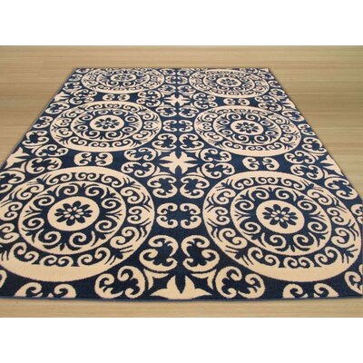 Modern Lines Carousel Blue Area Rug Rug Size: 53 x 73
