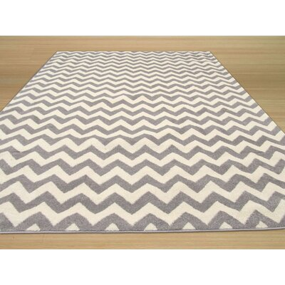 Modern Lines Chevron Gray Area Rug Rug Size: 53 x 73