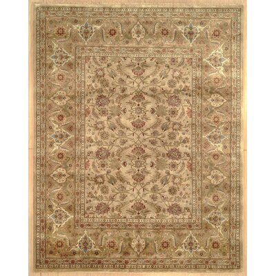 Tabriz Hand-Knotted Gold/Ivory Area Rug Rug Size: 12 x 15