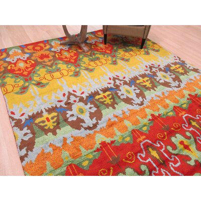 Hand-Knotted Orange/Green Area Rug Rug Size: 5 x 8