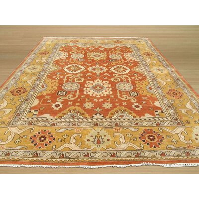 Oushak Hand-Knotted Brown Area Rug Rug Size: 9 x 12