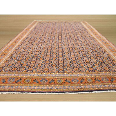 Tabriz Hand-Knotted Navy Area Rug Rug Size: 87 x 1310