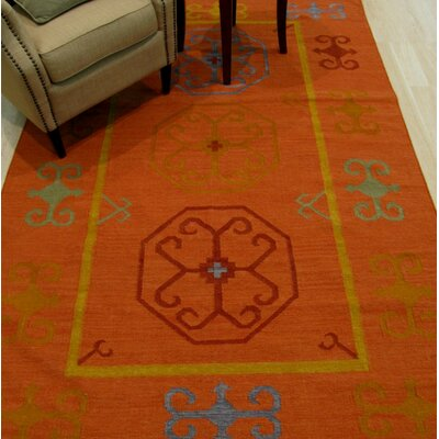 Hand Knotted Rust Area Rug Rug Size: Rectangle 56 x 8
