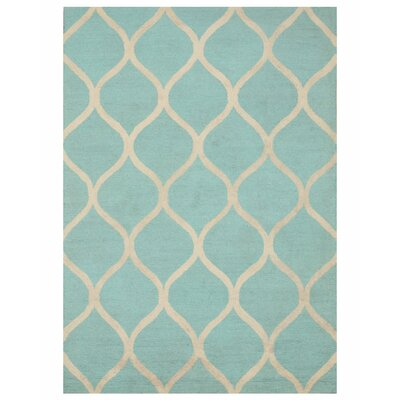 Moroccan Wool Traditional Trellis Hand-Tufted Aqua Area Rug