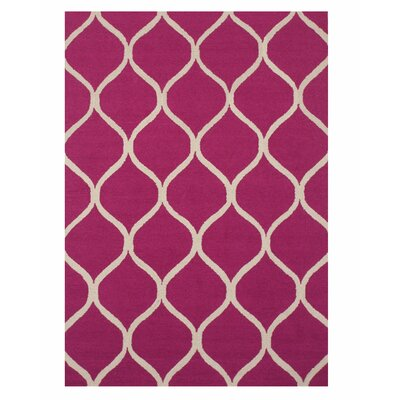 Moroccan Wool Traditional Trellis Hand-tufted Pink Area Rug