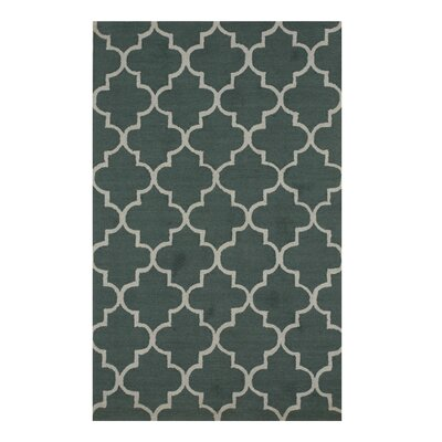 Moroccan Traditional Trellis Hand-Tufted Green Area Rug