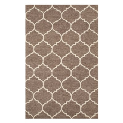 Moroccan Wool Traditional Trellis Hand-Tufted Light Brown Area Rug