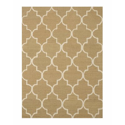 Moroccan Wool Traditional Trellis Hand-Tufted Light Gold Area Rug