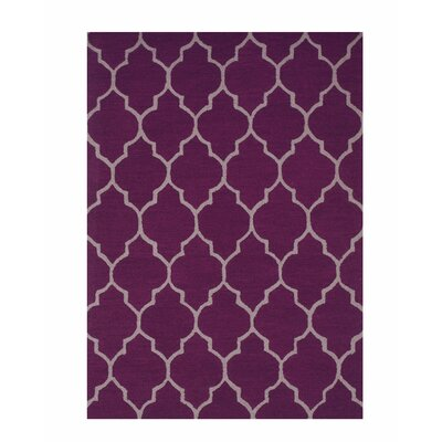 Moroccan Wool Traditional Trellis Hand-Tufted Purple Area Rug