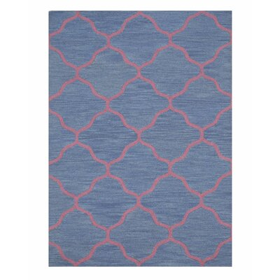 Moroccan Wool Traditional Trellis Hand-Tufted Blue Area Rug