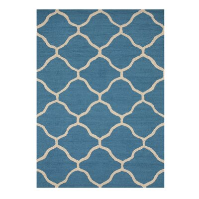 Moroccan Wool Traditional Trellis Hand-Tufted Teal Area Rug