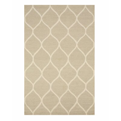 Moroccan Wool Traditional Trellis Hand-Tufted Beige Area Rug Rug Size: 5 x 7
