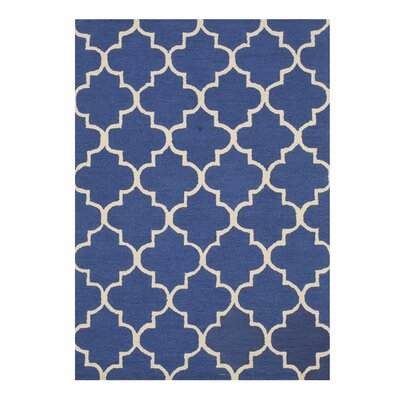 Moroccan Wool Traditional Trellis Hand-Tufted Blue Area Rug Rug Size: 5 x 7