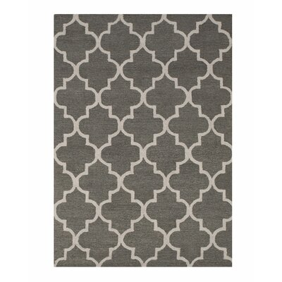 Moroccan Wool Traditional Trellis Hand-Tufted Gray Area Rug Rug Size: 5 x 7