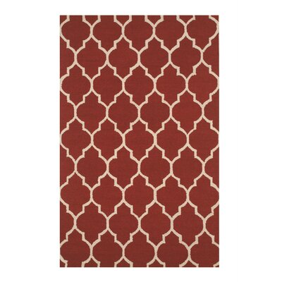 Moroccan Wool Red Traditional Trellis Hand-Tufted Red Area Rug Rug Size: 5 x 8