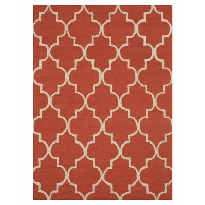Moroccan Wool Traditional Trellis Hand-Tufted Rust Area Rug Rug Size: 5 x 7