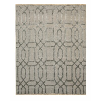 Stuart Transitional Abstract Hand-Knotted Wool Gray Area Rug Rug Size: Rectangle 6' x 9'