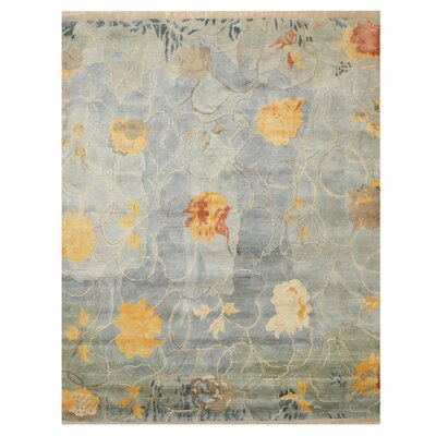 Phillis Art Hand-Knotted Blue Area Rug Rug Size: Rectangle 9 x 12