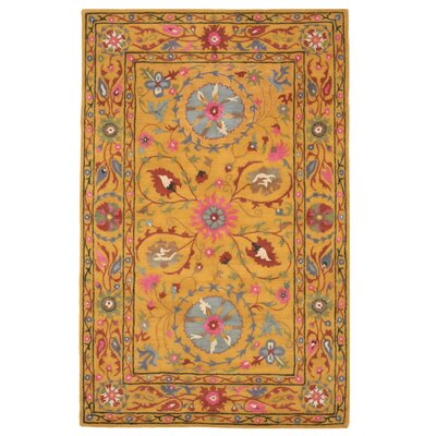Urbaniak Hand-Tufted Yellow Area Rug Rug Size: Rectangle 89 x 119