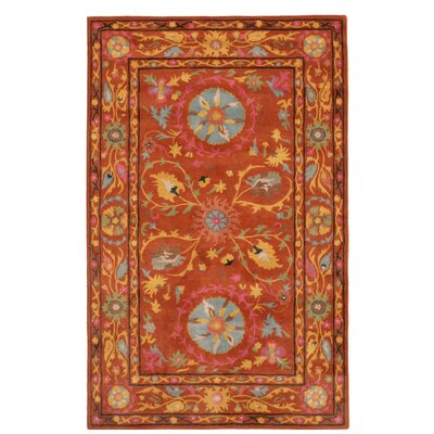 Timpkins Hand-Tufted Rust Area Rug Rug Size: Rectangle 89 x 119