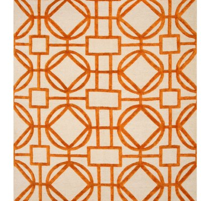 Northwood Links Hand-Knotted Ivory/Orange Area Rug Rug Size: Rectangle 9 x 12