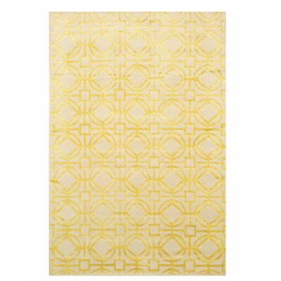 Marlin Transitional Geometric Tibetan Hand-Knotted Ivory Area Rug