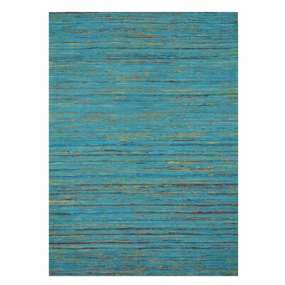 Mittler Stripe Sereh Hand-Woven Cotton Blue Area Rug