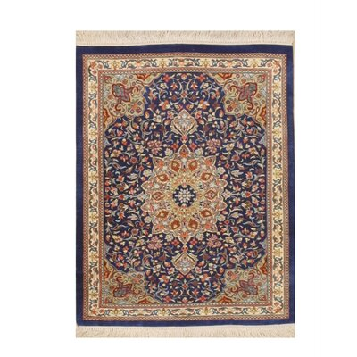 Valenzano Traditional Hand-Knotted Silk Blue Area Rug
