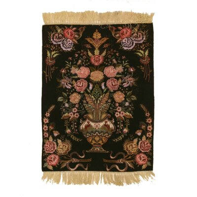 Molly Traditional Tablou Hand-Knotted Wool Black Area Rug