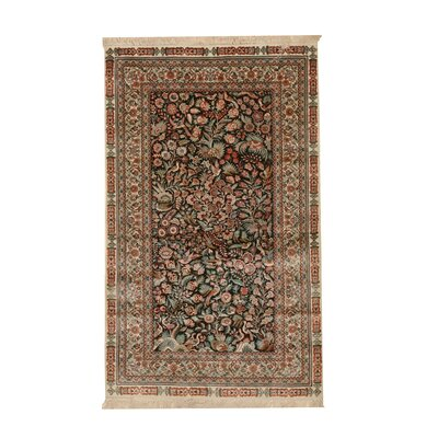 Molly Traditional Hand-Knotted Silk Black/Green Area Rug