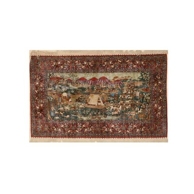 Molly Traditional Pictorial Hand-Knotted Silk Green/Red Area Rug
