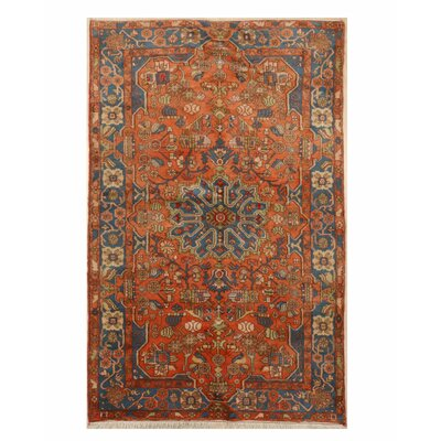 Montoya Traditional Hand-Knotted Wool Orange Area Rug