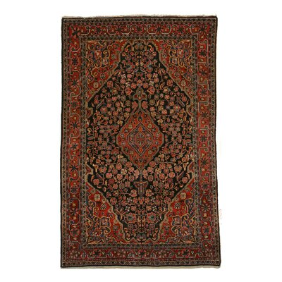 Mira Traditional Hand-Knotted Wool Navy/Red Area Rug