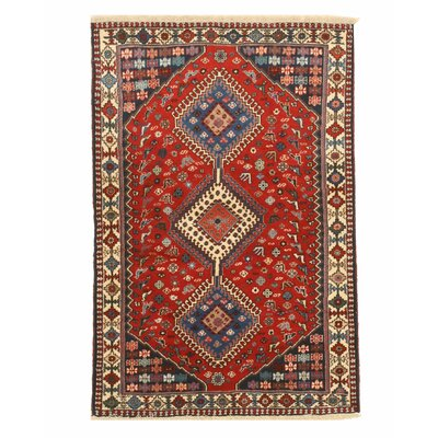 Middleton Traditional Rectangle Hand-Knotted Wool Red/Blue Area Rug