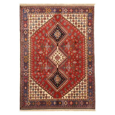 Middleton Traditional Rectangle Hand-Knotted Wool Red/Ivory Area Rug