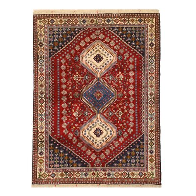 Middleton Traditional Neutral Hand-Knotted Wool Red/Ivory Area Rug