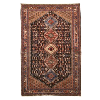 Middleton Traditional Geometric Rectangle Hand-Knotted Wool Rust/Blue Area Rug