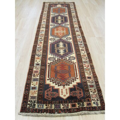 Miles Traditional Runner Hand-Knotted Wool Ivory/Brown Area Rug