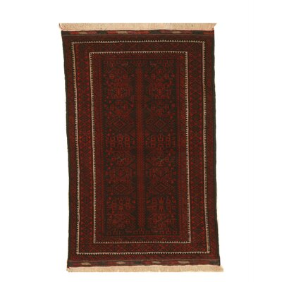 Mikonos Traditional Rectangle Hand-Knotted Wool Navy/Red Area Rug