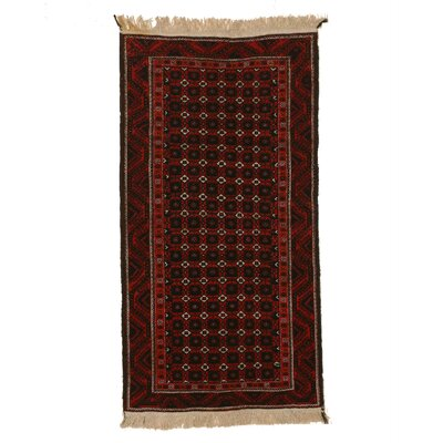 Mikonos Traditional Neutral Hand-Knotted Wool Navy/Red Area Rug