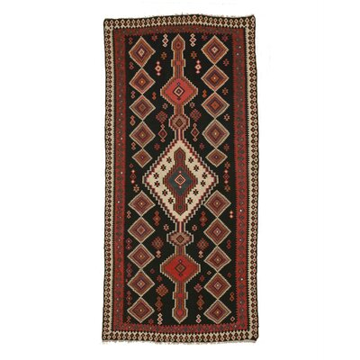 Mikonos Traditional Hand-Knotted Wool Black/Ivory Area Rug