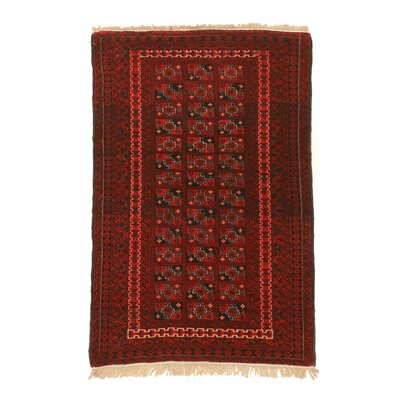 Mikonos Traditional Hand-Knotted Rectangle Wool Red Area Rug